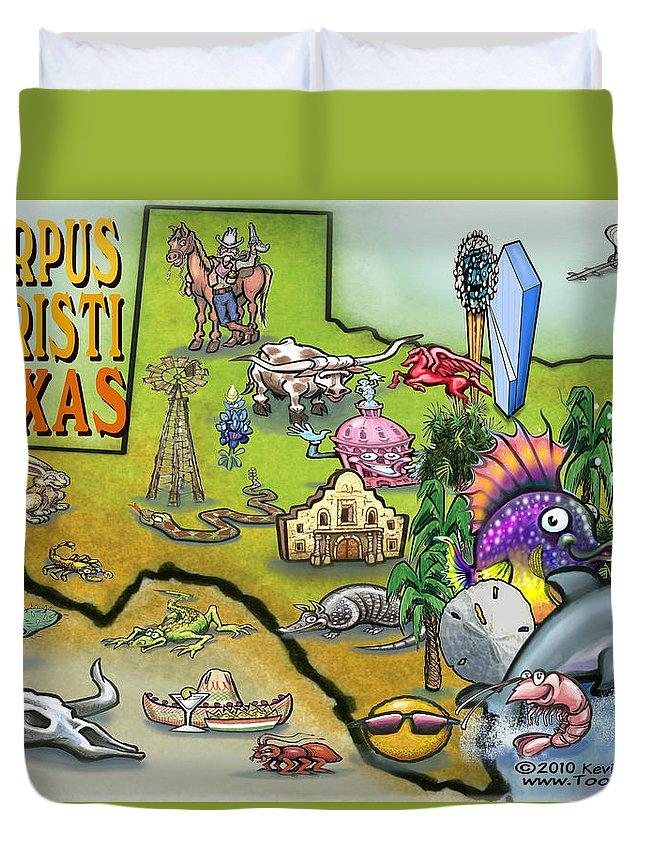 Corpus Christi Duvet Cover featuring the digital art Corpus Christi Texas Cartoon Map by Kevin Middleton