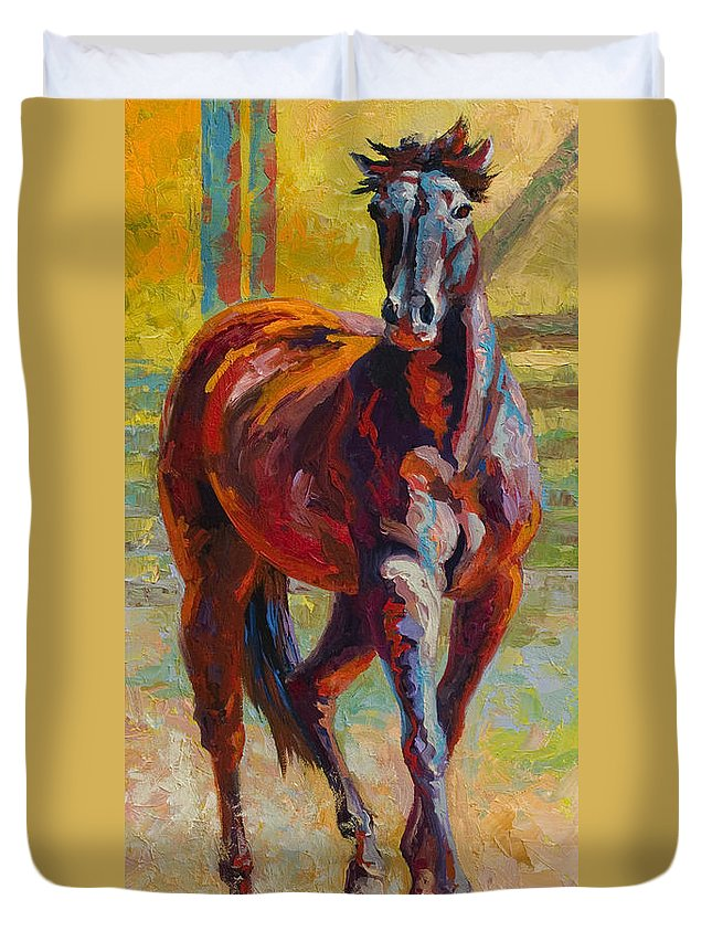 Horses Duvet Cover featuring the painting Corral Boss - Mustang by Marion Rose