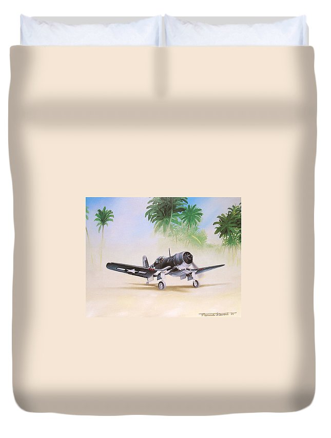 Aviation Duvet Cover featuring the painting Corsair Preflight by Marc Stewart