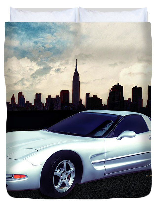 Chevrolet Duvet Cover featuring the photograph Corvette C-5 1997-2004 by Chas Sinklier