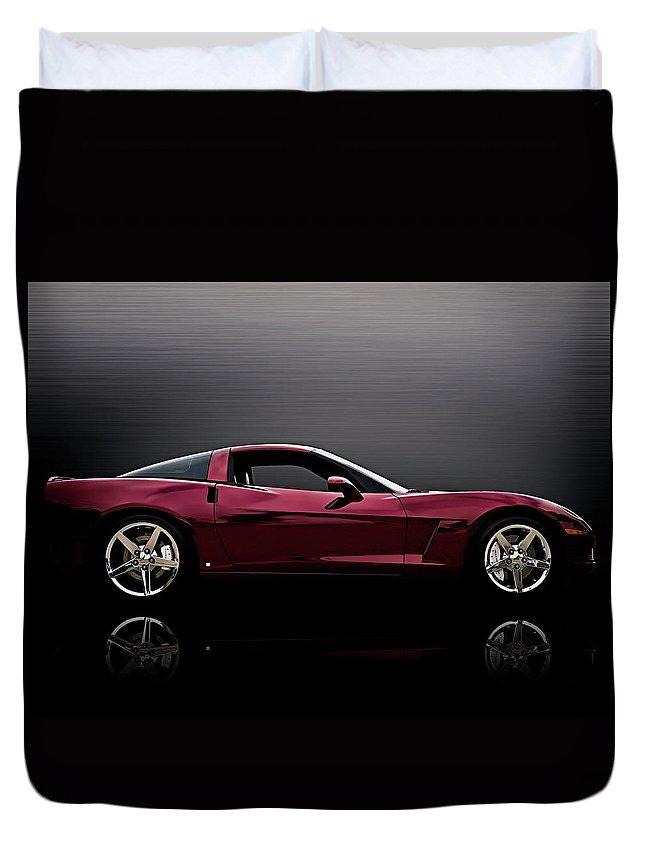 Corvette Duvet Cover featuring the digital art Corvette Reflections by Douglas Pittman