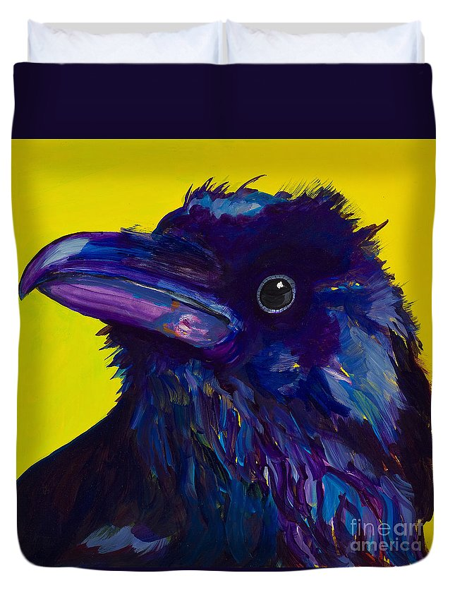 Bird Duvet Cover featuring the painting Corvus by Pat Saunders-White