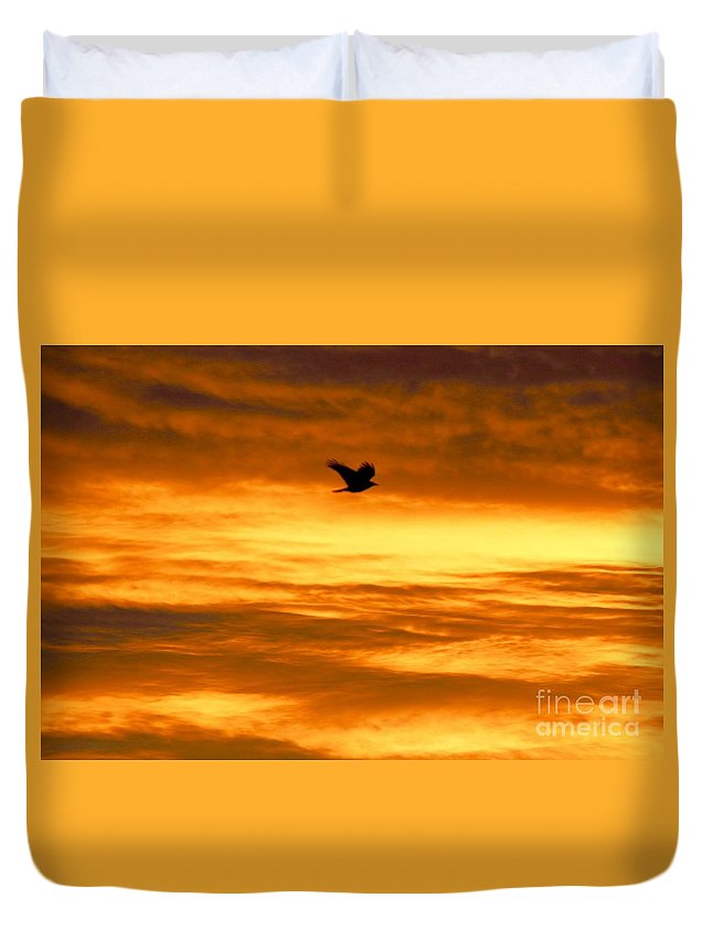 Crow Duvet Cover featuring the photograph Corvus Silhouette by Peter Jamieson