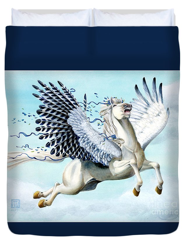 Artwork Duvet Cover featuring the painting Cory Pegasus by Melissa A Benson