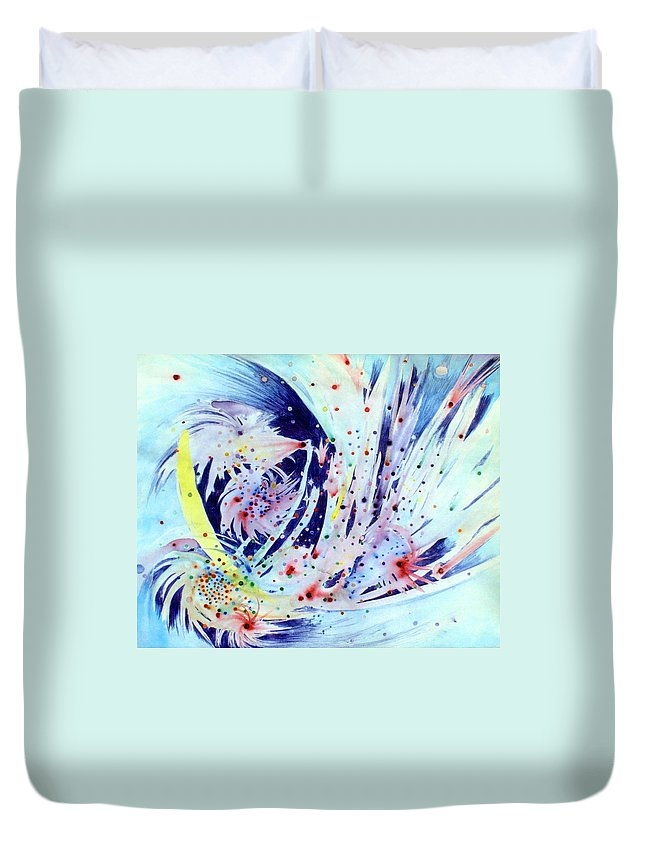 Abstract Duvet Cover featuring the painting Cosmic Candy by Steve Karol