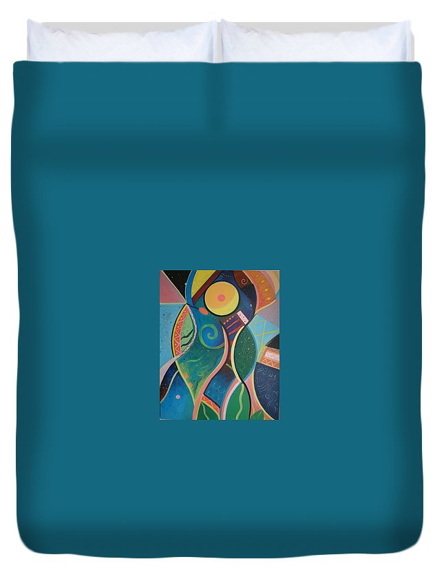 Abstract Duvet Cover featuring the painting Cosmic Carnival V Aka The Dance by Helena Tiainen