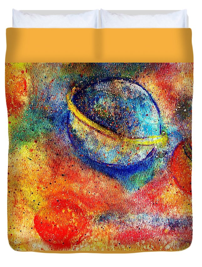 Watercolor Duvet Cover featuring the painting Cosmic Energy by Robin Monroe
