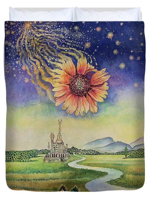 Cosmic Flower Duvet Cover featuring the painting Cosmic Flower by Alexander Dudchin