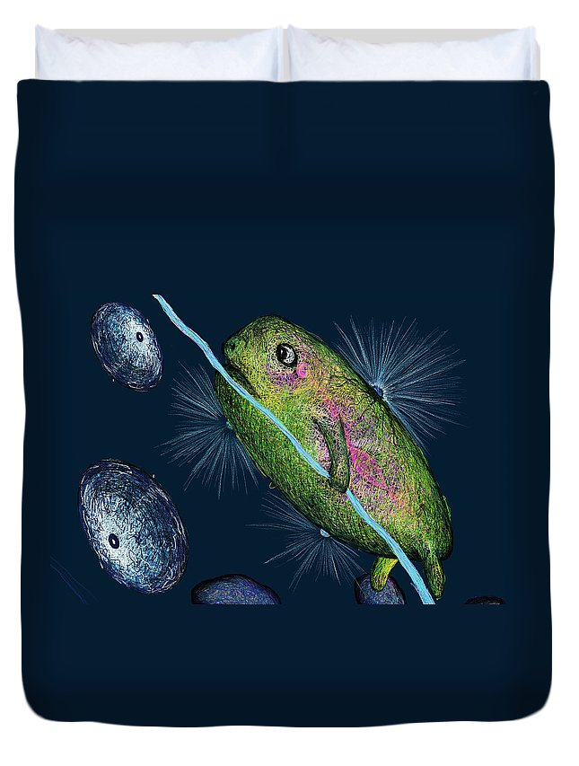 Creature Duvet Cover featuring the digital art Cosmic Lifeforms by Larysa Domanus-Pazdan