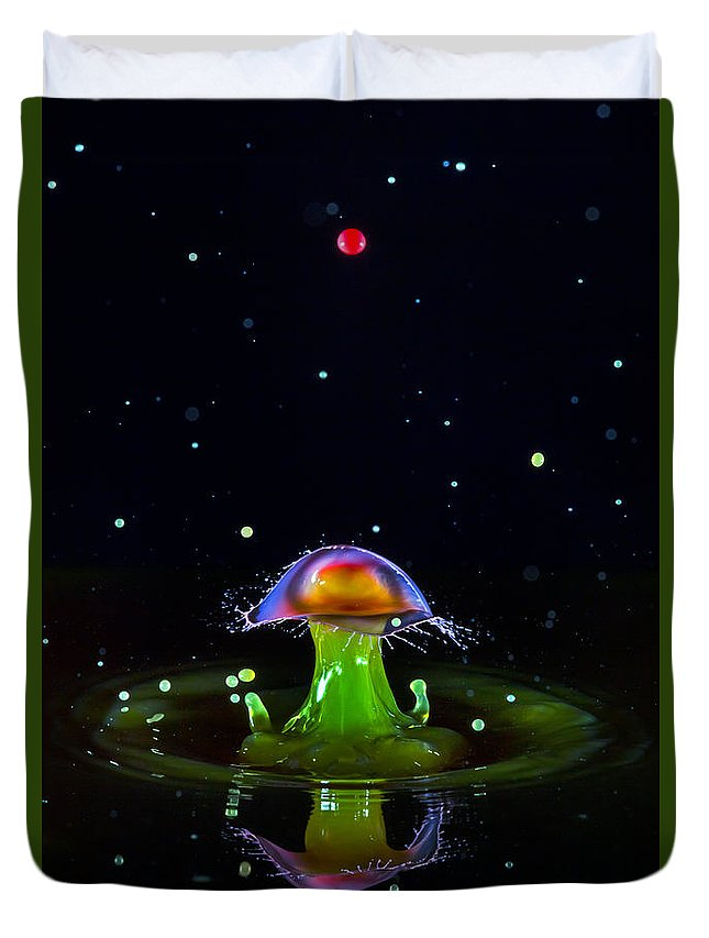 Abstract Duvet Cover featuring the photograph Cosmic Mushroom by Robert Storost