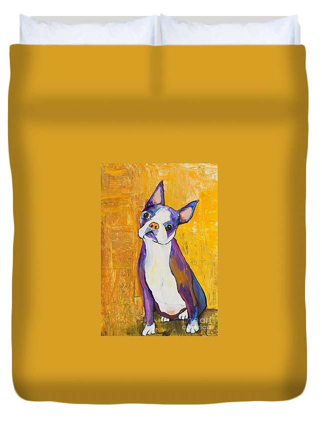 Boston Terrier Animals Acrylic Dog Portraits Pet Portraits Animal Portraits Pat Saunders-white Duvet Cover featuring the painting Cosmo by Pat Saunders-White