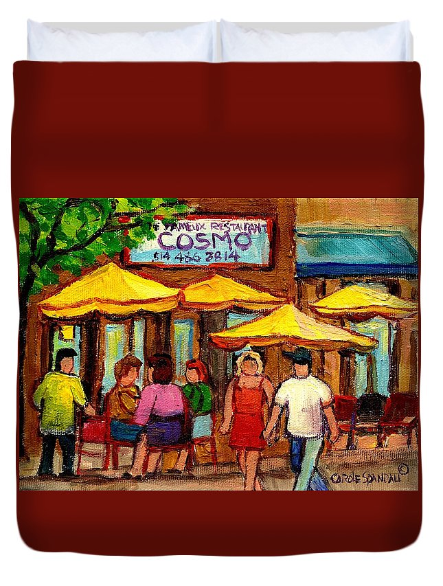 Cosmos Restaurant Duvet Cover featuring the painting Cosmos Fameux Restaurant On Sherbrooke by Carole Spandau