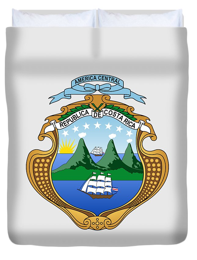 Costa Rica Duvet Cover featuring the drawing Costa Rica Coat Of Arms by Movie Poster Prints