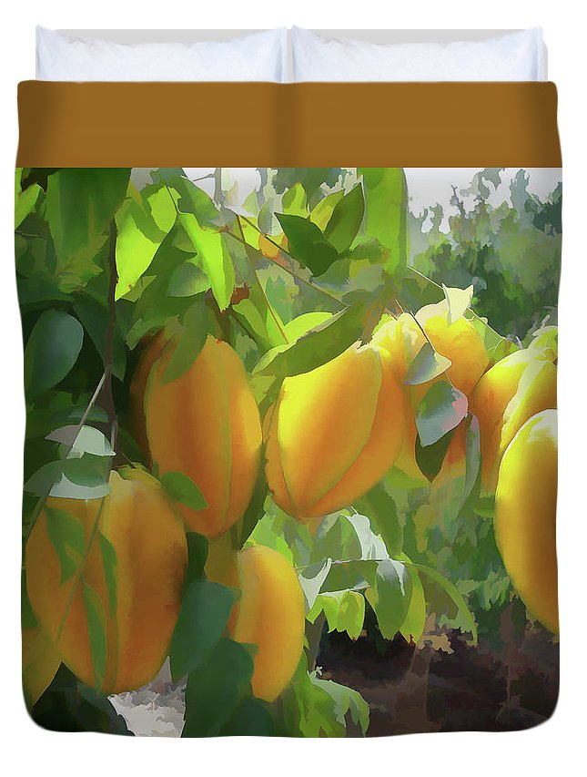 Star Apple Fruit On The Tree Duvet Cover featuring the painting Costa Rica Star Fruit Known As Carambola by Jeelan Clark