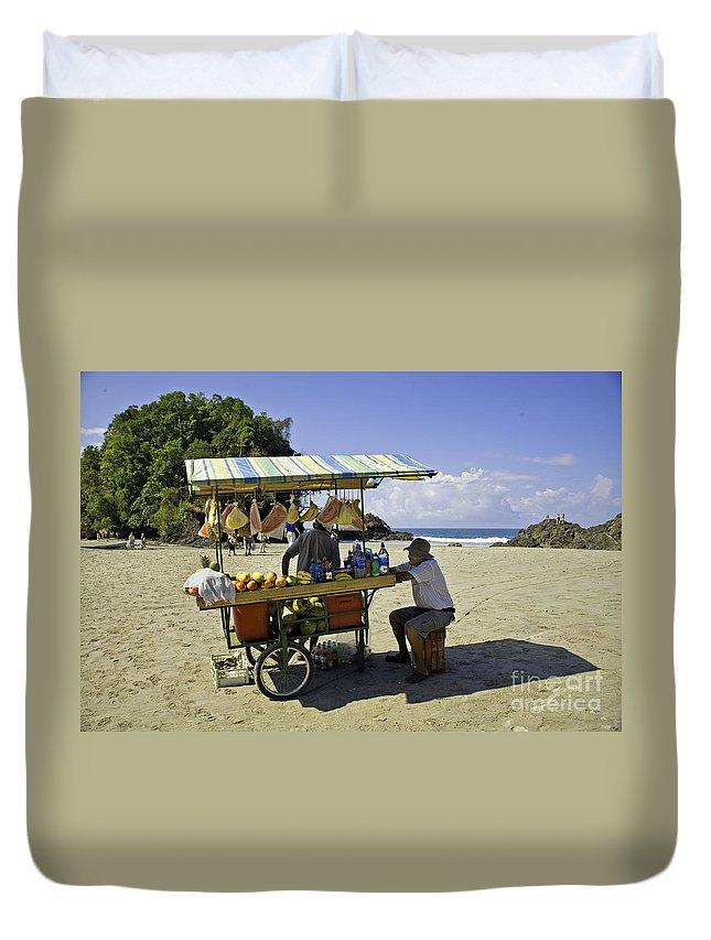 Vendor Duvet Cover featuring the photograph Costa Rica Vendor by Madeline Ellis