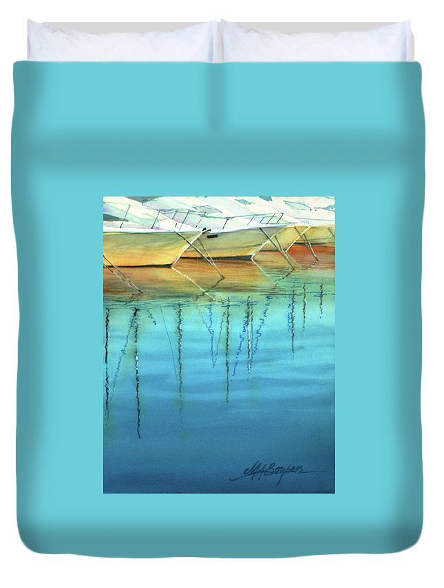 Watercolor Painting Duvet Cover featuring the painting Cote D'azur Harbor Boats by Maryann Boysen
