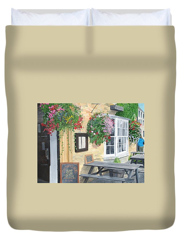 Cafe Duvet Cover featuring the painting Cotswold Arms Special by Keith Wilkie