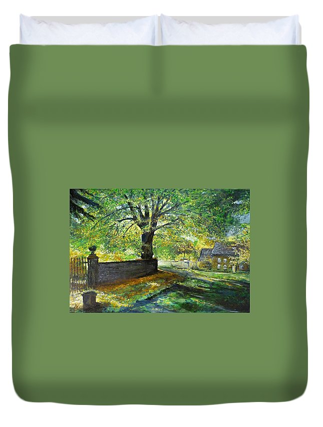 Landscape Duvet Cover featuring the painting Cotswold Lane by Lizzy Forrester