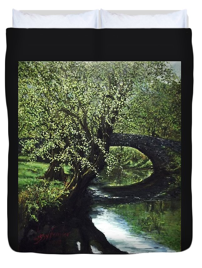 Tranquility Duvet Cover featuring the painting Cotswolds scene 1 by Lizzy Forrester
