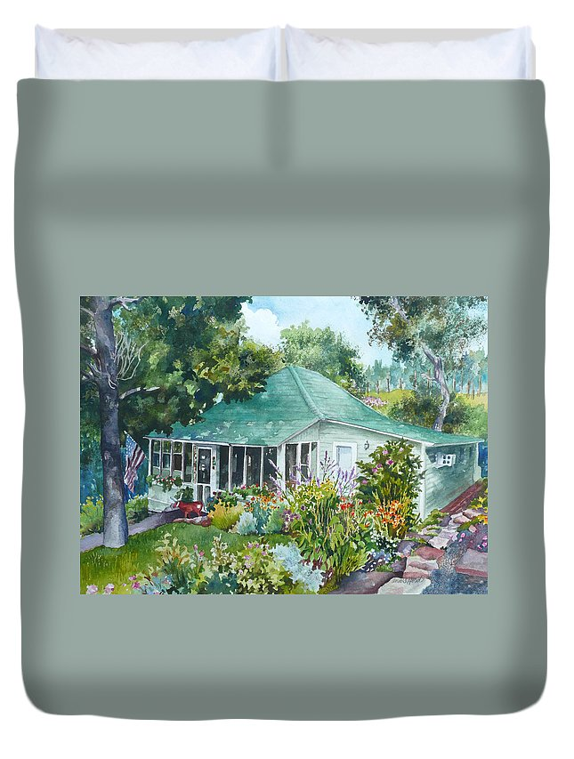 Cottage Painting Duvet Cover featuring the painting Cottage At Chautauqua by Anne Gifford