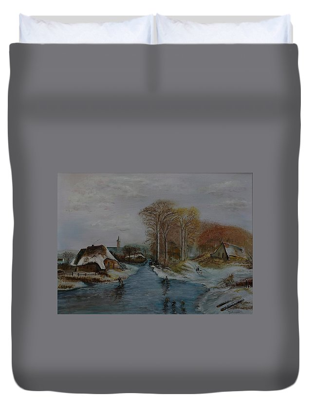 Thatched Roof Cottage Duvet Cover featuring the painting Cottage Country - Lmj by Ruth Kamenev