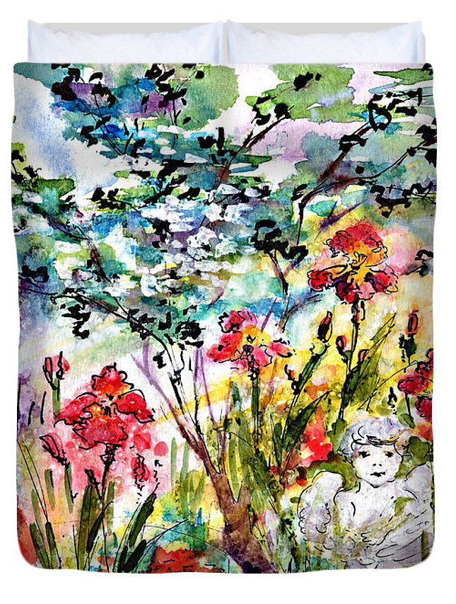 Garden Duvet Cover featuring the painting Cottage Garden Angel And Irises by Ginette Callaway