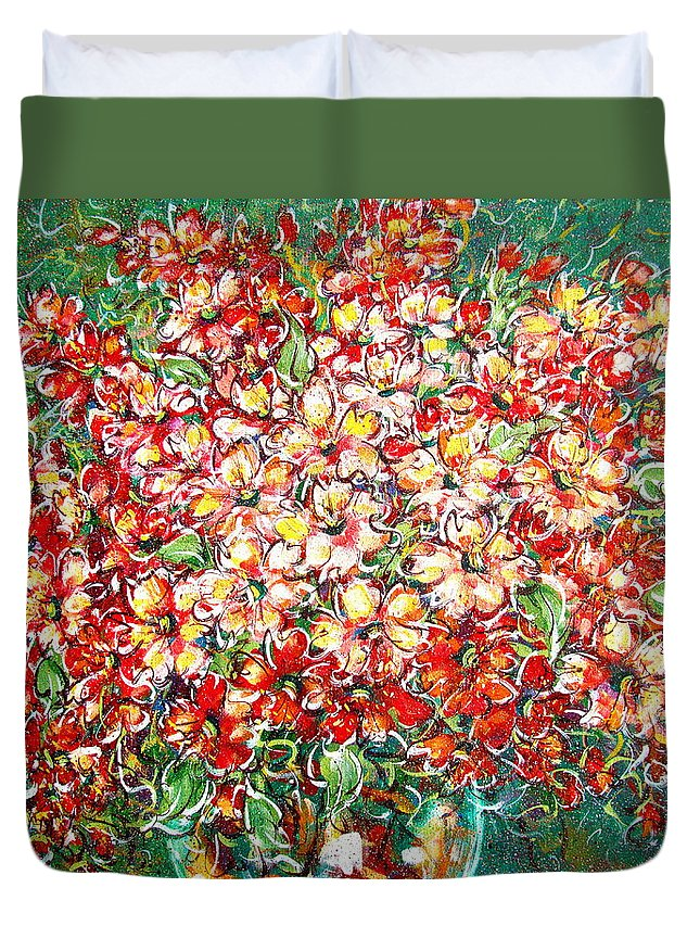 Flowers Duvet Cover featuring the painting Cottage Garden Flowers by Natalie Holland