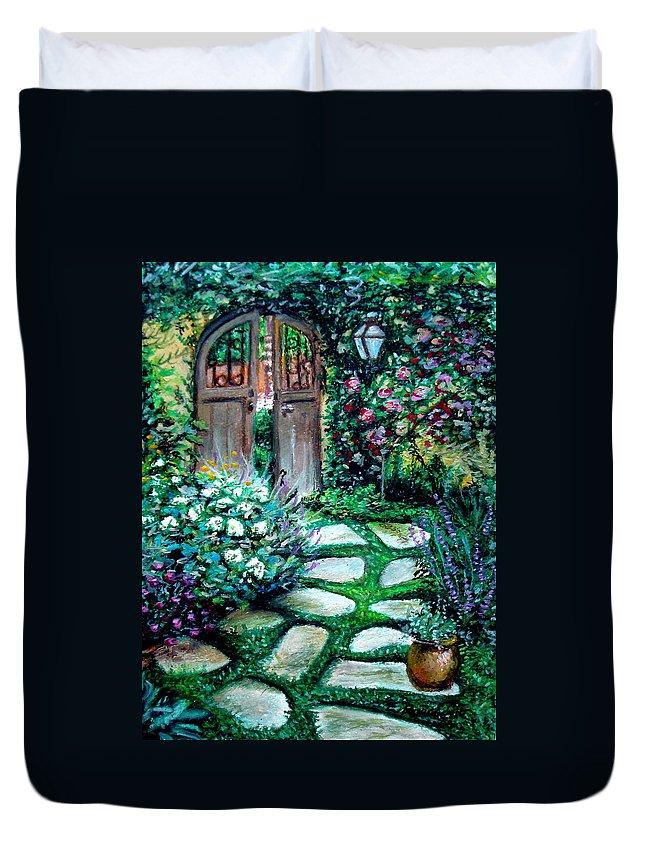 Landscape Duvet Cover featuring the pastel Cottage Gates by Elizabeth Robinette Tyndall