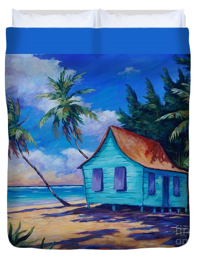 Art Duvet Cover featuring the painting Beach Cottage by John Clark