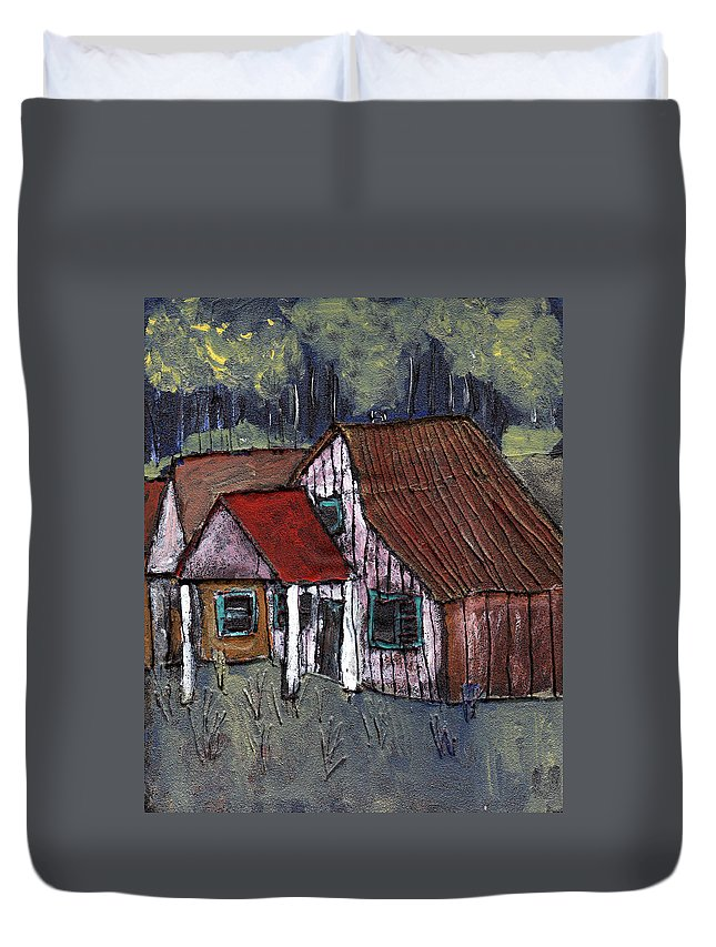 Cottage Duvet Cover featuring the painting Cottage In The Woods by Wayne Potrafka