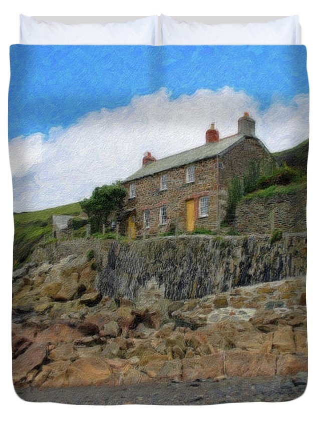 Dean Wittle Duvet Cover featuring the painting Cottage On Rocks At Port Quin - P4a16009 by Dean Wittle