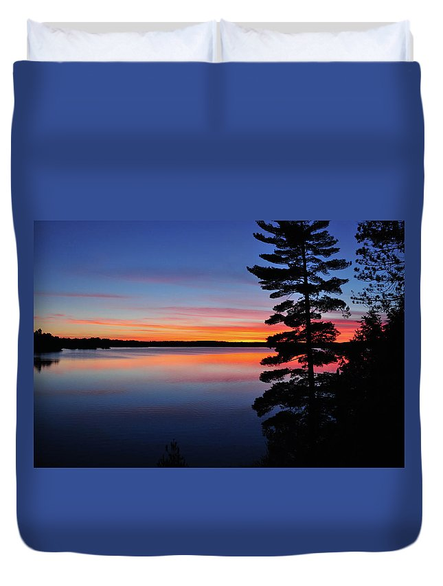 Lake Duvet Cover featuring the photograph Cottage Sunset by Keith Armstrong