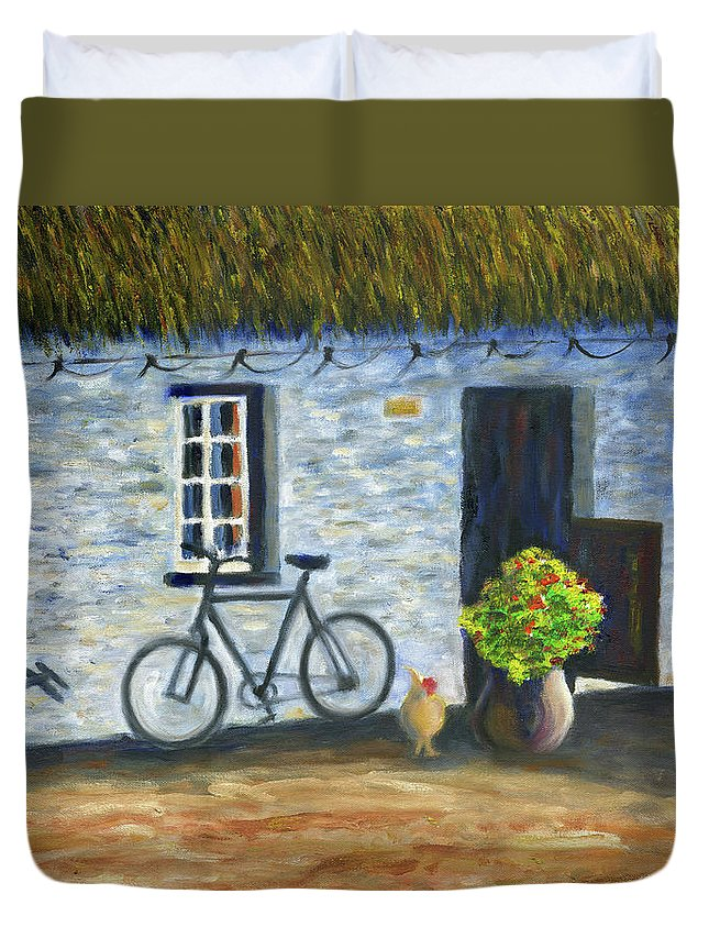 Cottage Duvet Cover featuring the painting Cottage Life by Stan Sweeney