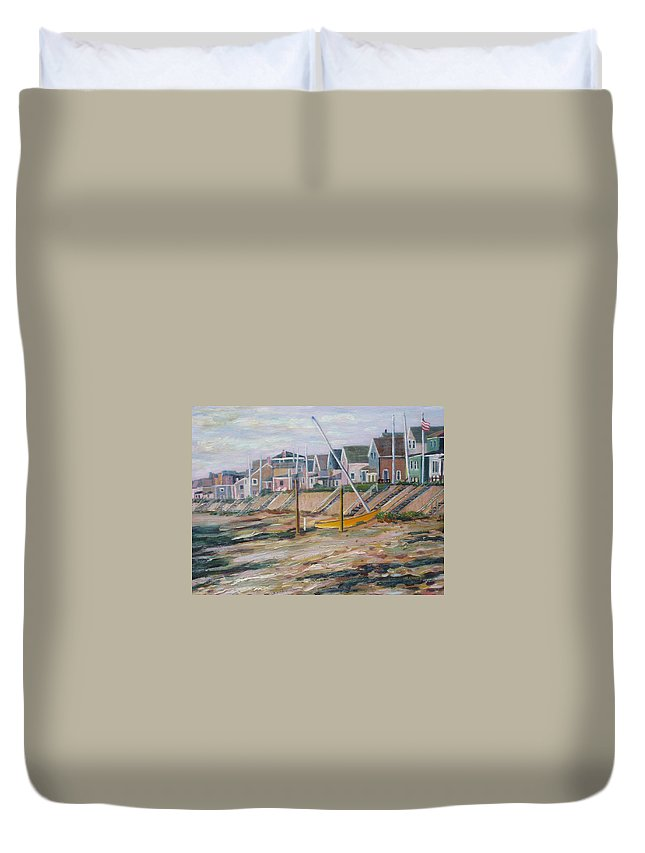 Beach Duvet Cover featuring the painting Cottages Along Moody Beach by Richard Nowak