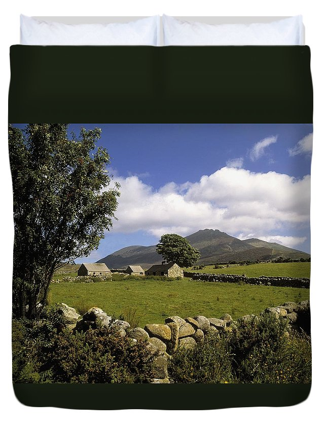 Scenery Duvet Cover featuring the photograph Cottages On A Farm Near The Mourne by The Irish Image Collection