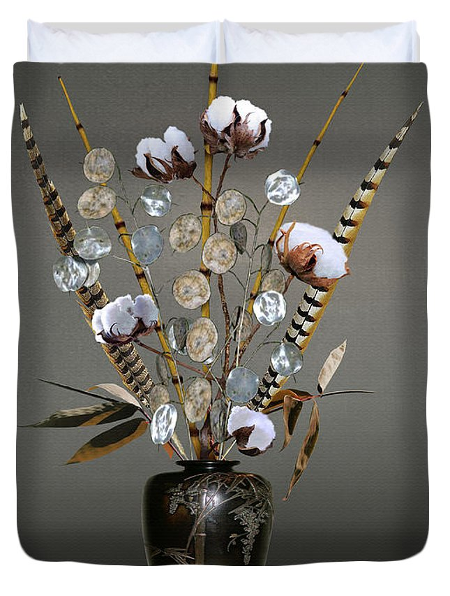 Cotton Duvet Cover featuring the digital art Cotton, Bamboo, And Devil's Ivy by IM Spadecaller