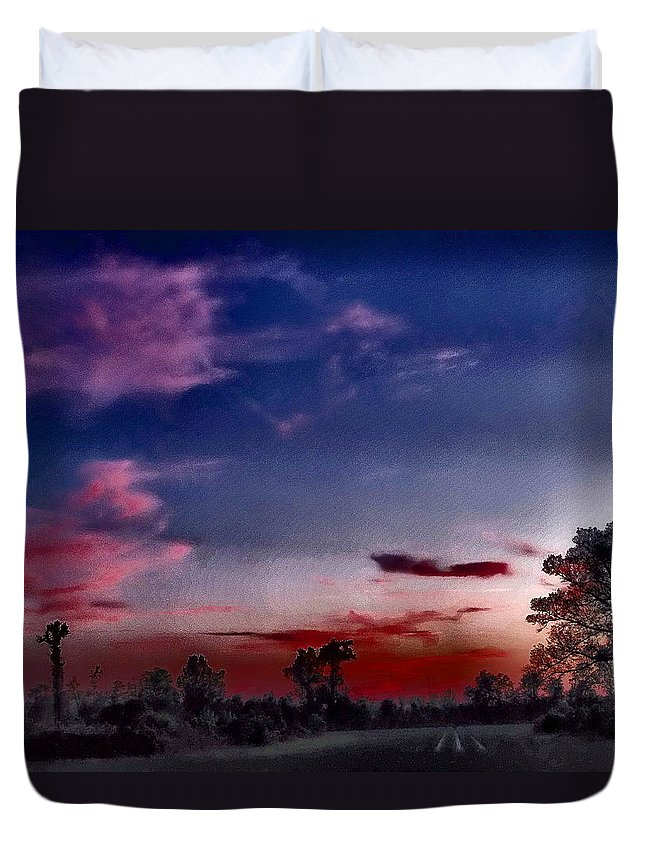 Dreamy Duvet Cover featuring the photograph Cotton Candy Sky by Gina Welch