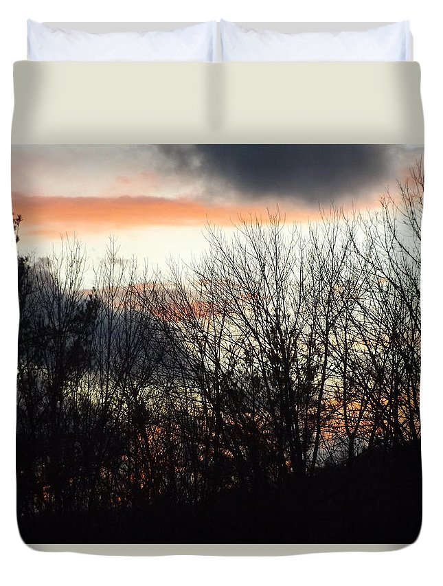 Pink Cotton Cloud Sunset Duvet Cover featuring the photograph Cotton Clouds 2 by Mike Poorman
