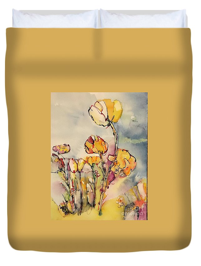 Cotton Flowers Abstract Colorful Poppies Duvet Cover featuring the painting Cotton by Glen bleep Garnett
