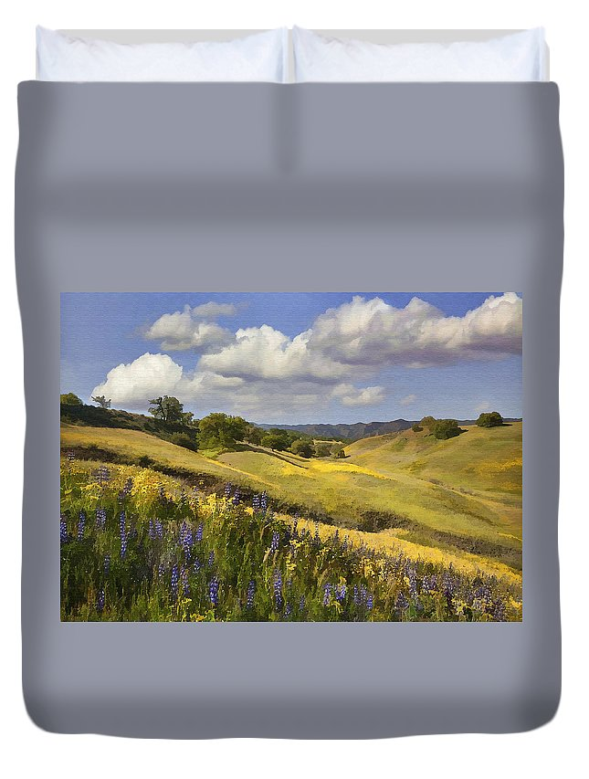 Lupine Duvet Cover featuring the digital art Cottonwood Canyon by Sharon Foster