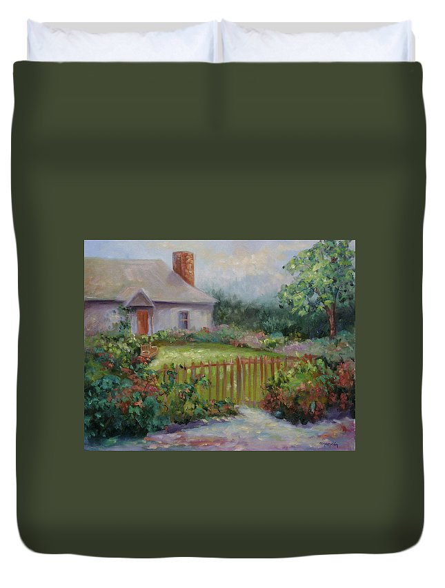 Cottswold Duvet Cover featuring the painting Cottswold Cottage by Ginger Concepcion