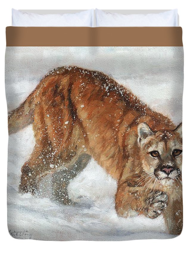 Cougar Duvet Cover featuring the painting Cougar In The Snow by David Stribbling