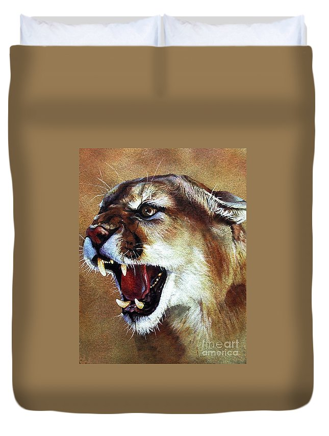 Southwest Art Duvet Cover featuring the painting Cougar by J W Baker