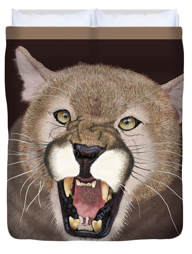 Cougar Duvet Cover featuring the painting Cougar by Jason Fella
