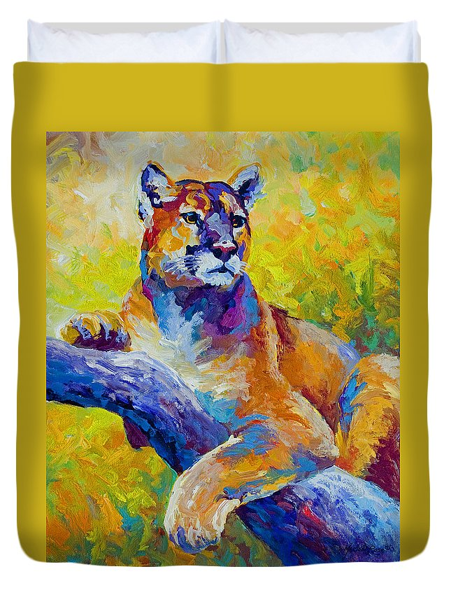 Mountain Lion Duvet Cover featuring the painting Cougar Portrait I by Marion Rose