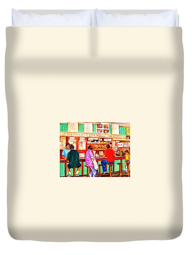 Montreal Duvet Cover featuring the painting Counter Culture by Carole Spandau