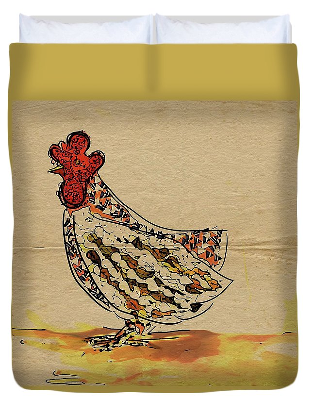 Chicken Duvet Cover featuring the painting Country Chicken by Tiffany Hunter