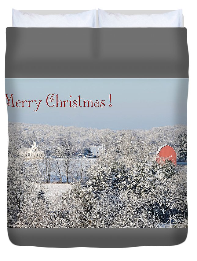 Red Barn Duvet Cover featuring the photograph Country Christmas by Regine Brindle