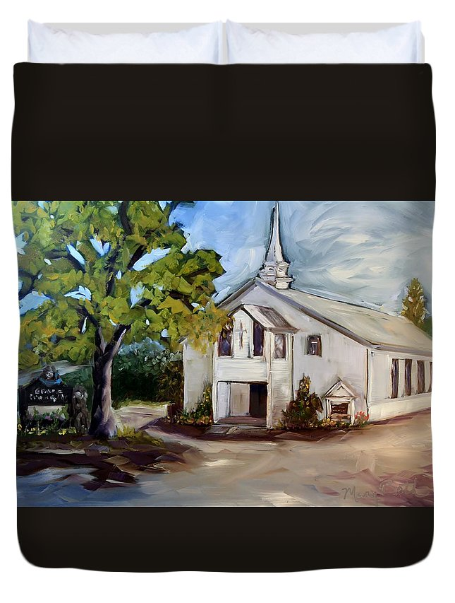 Church Duvet Cover featuring the painting Country Church by Mary Beth Harrison