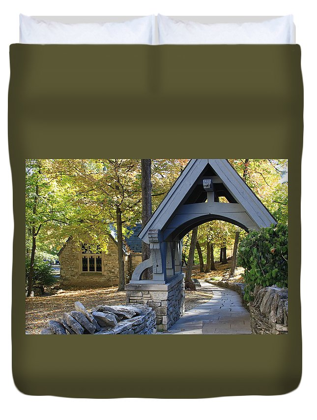 Autumn Duvet Cover featuring the photograph Country Churchyard by Andrea Lynch